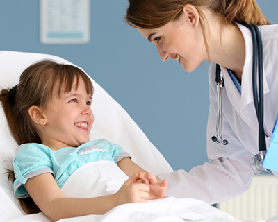 pediatric specialist with child patient